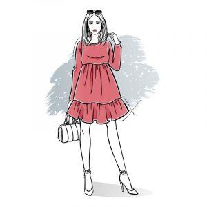 wykrój na sukienkę damską Pola