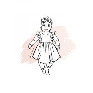 wykrój na sukienkę newborn Sonia