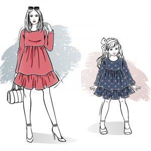 duet wykrojów na sukienkę Pola damską i dla dziewczynki