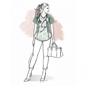 wykrój na bluzę damską medyczną