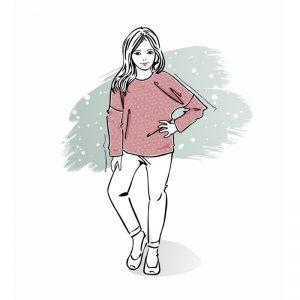 wykrój na long pink dla dziewczynki