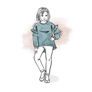 wykrój na bluzę dla dziewczynki Tessa