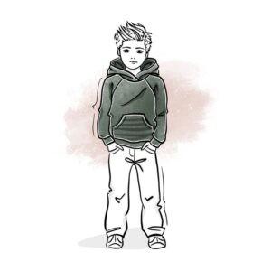 wykrój na bluzę z rękawem raglanowym i kapturem oraz kieszenią kangurką dla chłopca i dziewczynki