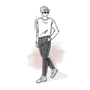 wykrój na spodnie dresowe męskie typu slim fit