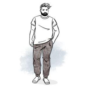 wykrój na spodnie dresowe męskie Tomi plus size