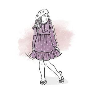 wykrój na sukienkę dla dziewczynki Emi