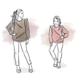 zestaw wykrojów na bluzę Etna damską i dziecięcą