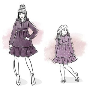 zestaw wykrojów na sukienkę Emi damską i dla dziewczynki