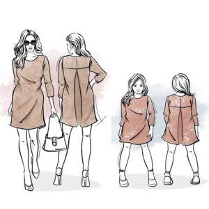 duet wykrojów na sukienkę Daria damską i dla dziewczynki