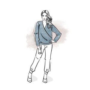 wykrój na bluzę damską kopertową Dorota