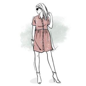 wykrój na sukienkę damską Hanna