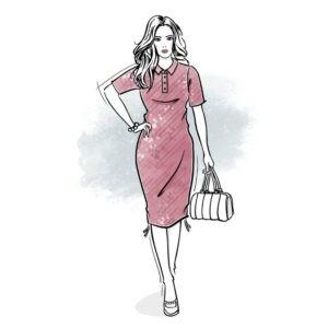 wykrój na sukienkę damską polo i t-shirt 2w1
