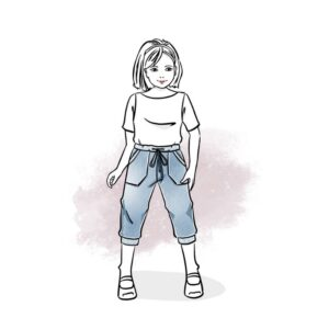wykrój na spodnie rybaczki Bambino dla chłopca i dziewczynki