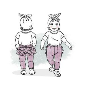 wykrój na spodnie z falbankami Jokka newborn