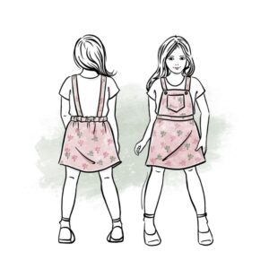 wykrój na sukienkę ogrodniczkę dla dziewczynki