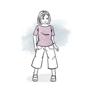 wykrój na t-shirt dla dziewczynki z dekoltem łódka