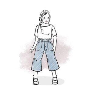 wykrój na spodnie kuloty dla dziewczynki Malina