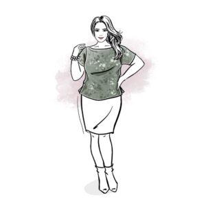 wykrój na t-shirt damski z dekoltem łódka plus size