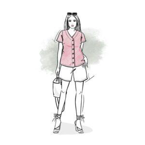 wykrój na bluzkę damską Letycja