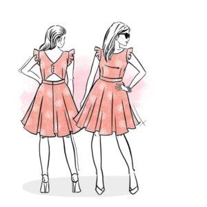 wykrój na sukienkę damską Liliana online strefa kroju