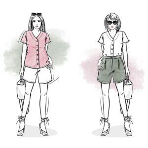 wykroje na zestaw damski Letycja bluzka i spodenki