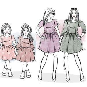zestaw wykrojów na sukienkę Melisa damską i dla dziewczynki