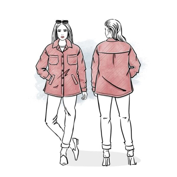 wykrój na kurtkę lub płaszcz koszulowy damski reja